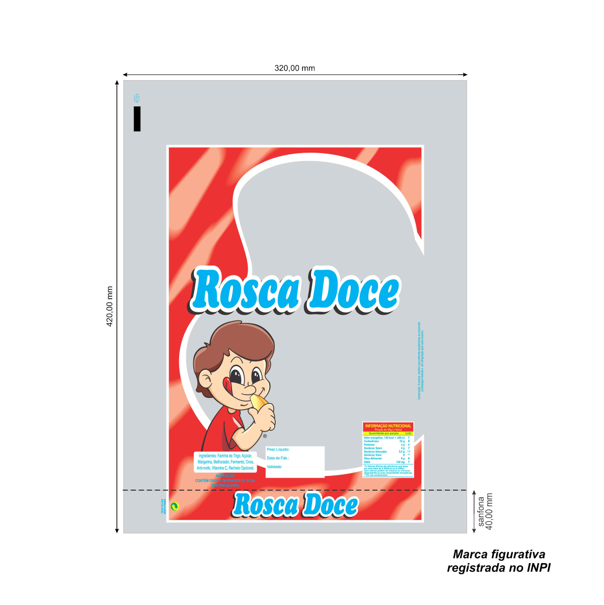 Sacos para Rosca Doce com Desenho com 100 unidades