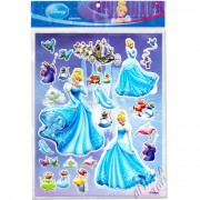 Cartela com 24 Adesivos de Plástico Alto Relevo Cinderela Princesas Disney