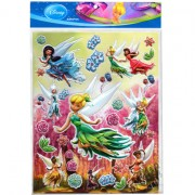 Cartela com 30 Adesivos de Plástico Alto Relevo Tinker Bell Fadas Disney