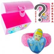 Mini Baú Surpresa com Adesivo e Chuquinha Cinderela Princesas Disney