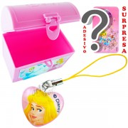 Mini Baú Surpresa com Adesivo e Pingente Aurora Bela Adormecida Princesas Disney