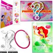 Sacolinha Divertida com Elástico de Cabelo Sereia Ariel Princesas Disney