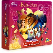 Quebra Cabeça de 120 Peças Contorno A Bela e a Fera Princesas Disney - Toyster
