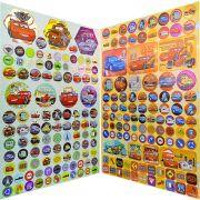 Coleção com 2 Cartelas de Adesivos com 211 Adesivos Carros Disney