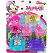 Casa da Minnie Kit Móveis Infantil 6 Acessórios Disney