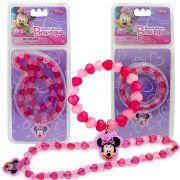 Colar e Pulseira Importada Minnie com Pingentes de Coração Disney