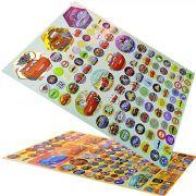 Coleção 2 Cartelas de Adesivos Laser Infantil Carros Disney