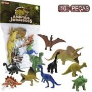 Coleção com 10 Mini Dinossauros Animais Jurássicos - Ark Toys
