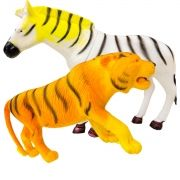 Coleção com 2 Animais Selvagens Tigre e Zebra