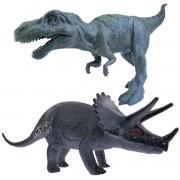 Coleção com 2 Mini Dinossauros Tiranossauro e Triceratops Animal Jurássico