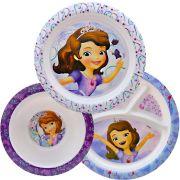 Coleção Com 2 Pratos 1 Tigela Infantil Princesa Sofia