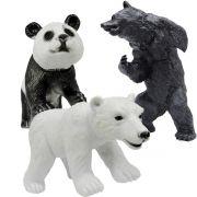 Coleção com 3 Animais Selvagens Urso Panda e Urso Polar
