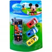 Coleção com 3 Carrinhos e Base Lançadora Mickey Disney
