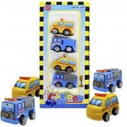 Coleção com 4 Mini Carrinhos Ambulância e Bombeiro Cartoon Car - Brincar Mais