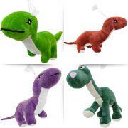 Dinossauro Coleção com 4 Pelúcias Jurássicas com Ventosa