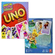 Jogo Uno Polly e Rouba Monte Tinker Bell Coleção com 2 jogos Mattel Disney