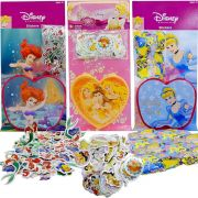 Kit 300 Mini Adesivos + Porta Adesivos Princesas Disney