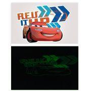 Kit 10 Cartelas Adesivos de Parede Brilha no Escuro Carros Disney