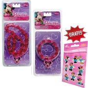 Kit Colar E Pulseira Infantil Minnie Disney Gratís um Adesivo