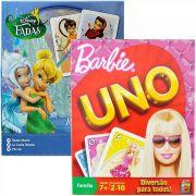 Kit com 2 Jogos: Uno Barbie e Rouba Monte Tinker Bell Disney
