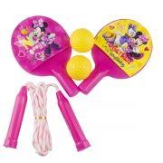 Kit com 2 Raquetes de Ping Pong e Pula Corda Minnie Disney