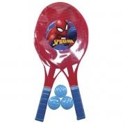 Kit com 2 Raquetes de Tênis e 3 Bolinhas Homem Aranha Marvel