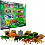 Kit Corrida Selvagem 6 Mini Carrinhos e 6 Mini Animais