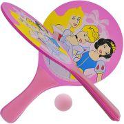 Kit Frescobol Em Madeira Com 2 Raquetes E 1 Bola Princesas Disney
