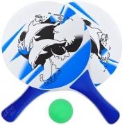 Kit Tênis de Praia Frescobol com 2 Raquetes de Madeira e Bolinha Verde