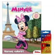 Livro e Kit Giz de Cera Vamos Colorir Minnie Disney - DCL