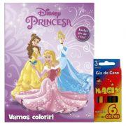 Livro e Kit Giz de Cera Vamos Colorir Princesas Disney - DCL