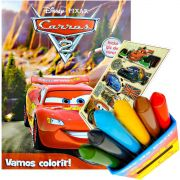 Livro Para Colorir Carros Com Giz De Cera Mais Adesivo