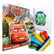 Livro Para Colorir Carros Giz De Cera 6 cores Mais Adesivo