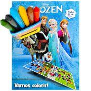 Livro Para Colorir Frozen Com Giz De Cera Mais Adesivo
