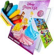 Livro Para Colorir Princesas Com Giz De Cera Mais Adesivo