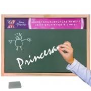 Lousa Verde Escolar Madeira Disney Princesa com Giz e Esponja