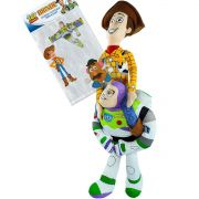 Pelúcia Buzz Lightyear e Woody Toy Story Disney mais Adesivo