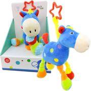 Pelúcia Cavalo Azul  com Chocalho Infantil Unik Toys