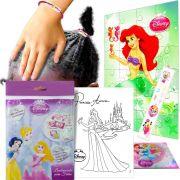 Sacolinha Surpresa Sereia Ariel c/ Elástico de Cabelo Princesas Disney + 4 Itens