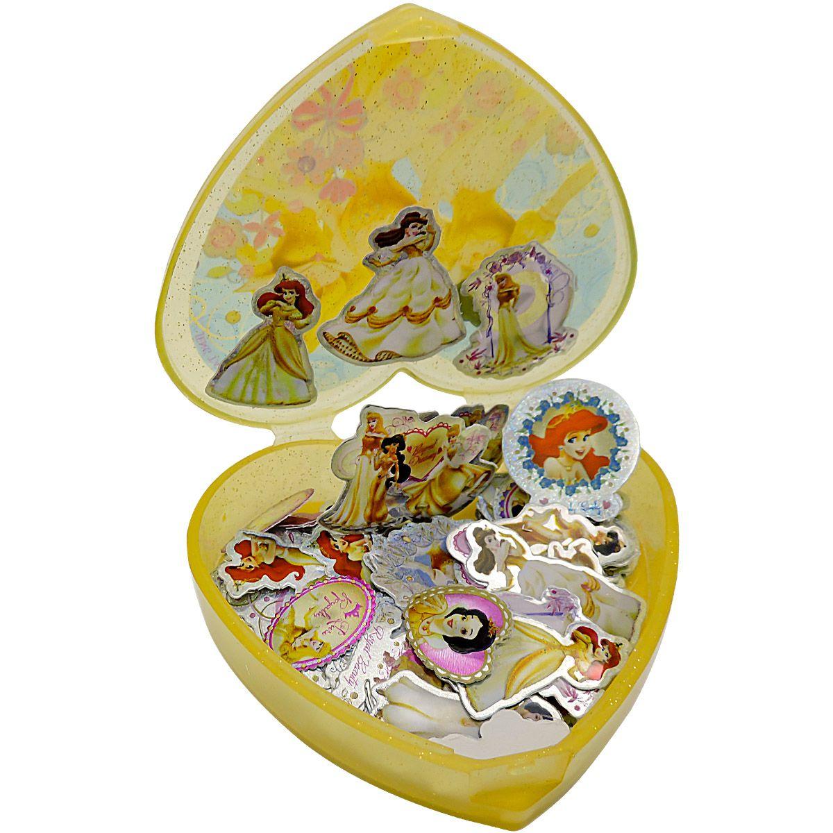 Coleção com 100 Mini Adesivos Princesas Disney Douradas mais Porta Adesivos