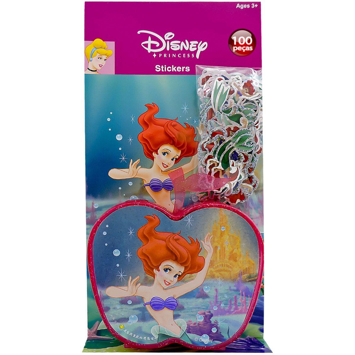 Coleção com 100 Mini Adesivos Sereia Ariel mais Porta Adesivos