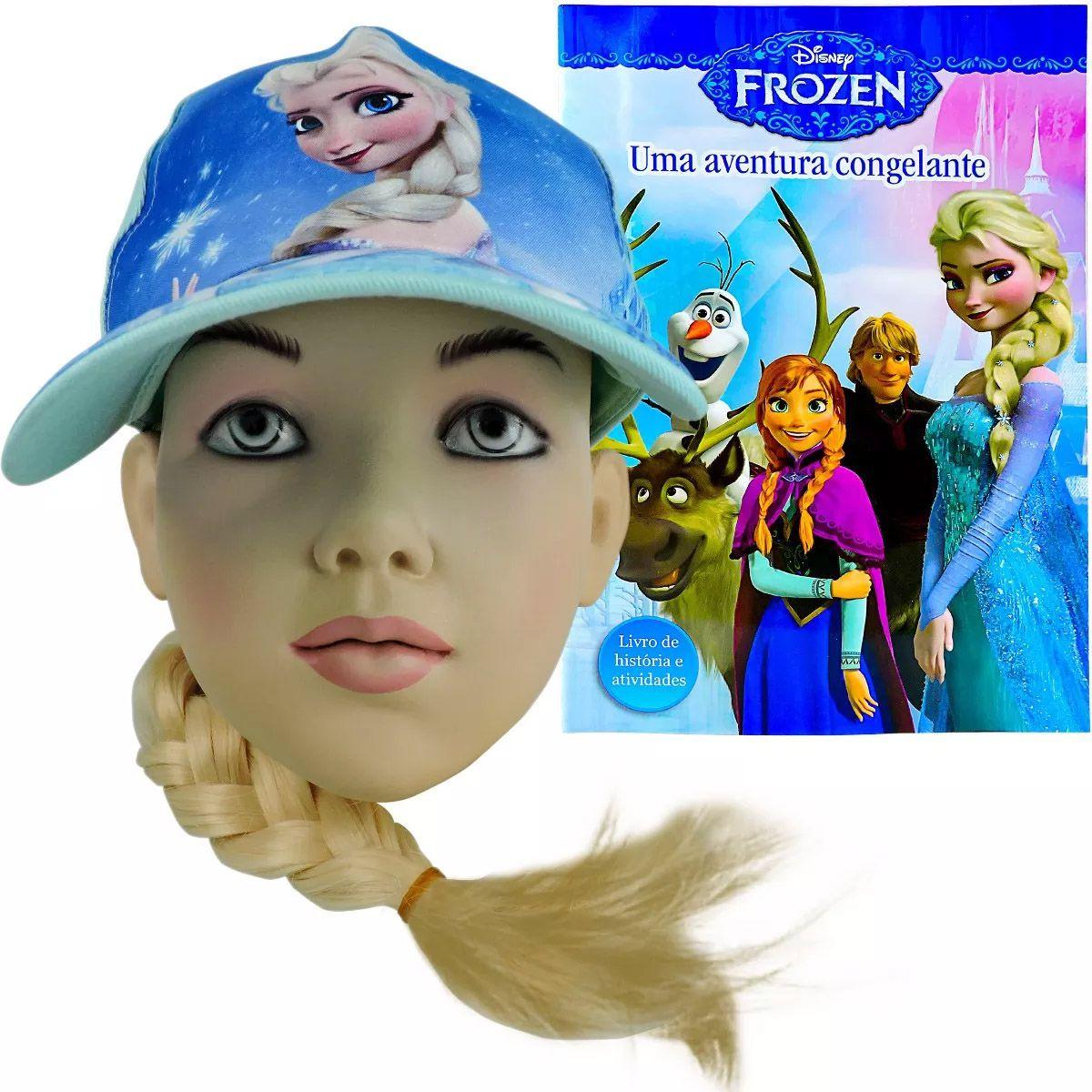 Boné Frozen Com Trança 43 Cm + Livro De História E Atividades