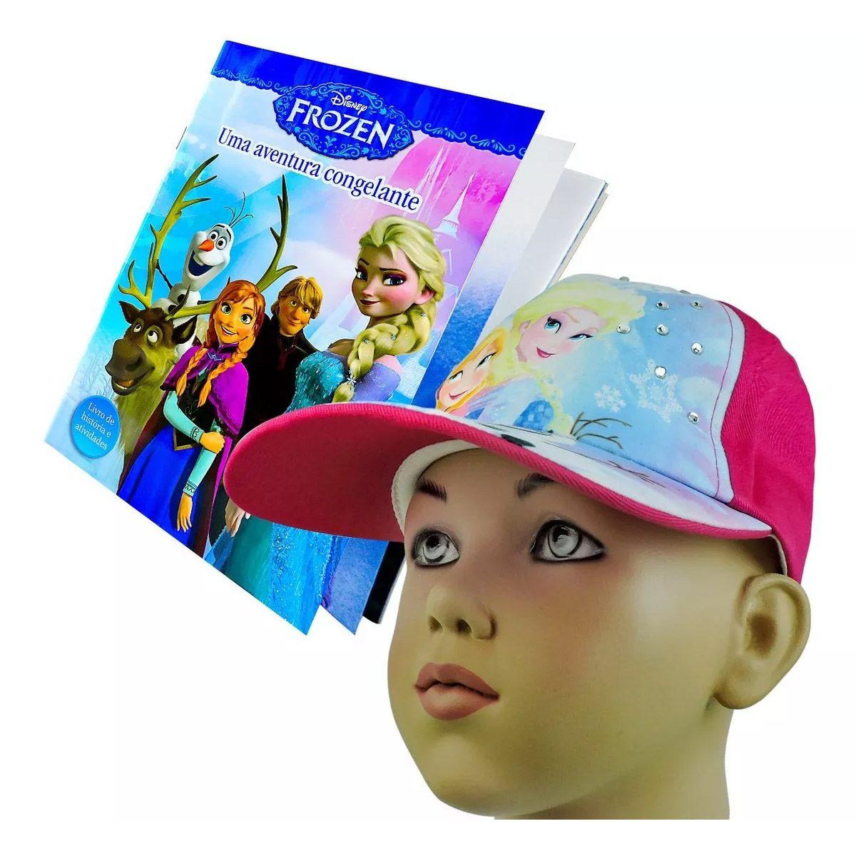 Boné Frozen + Livro de História com Atividades Disney