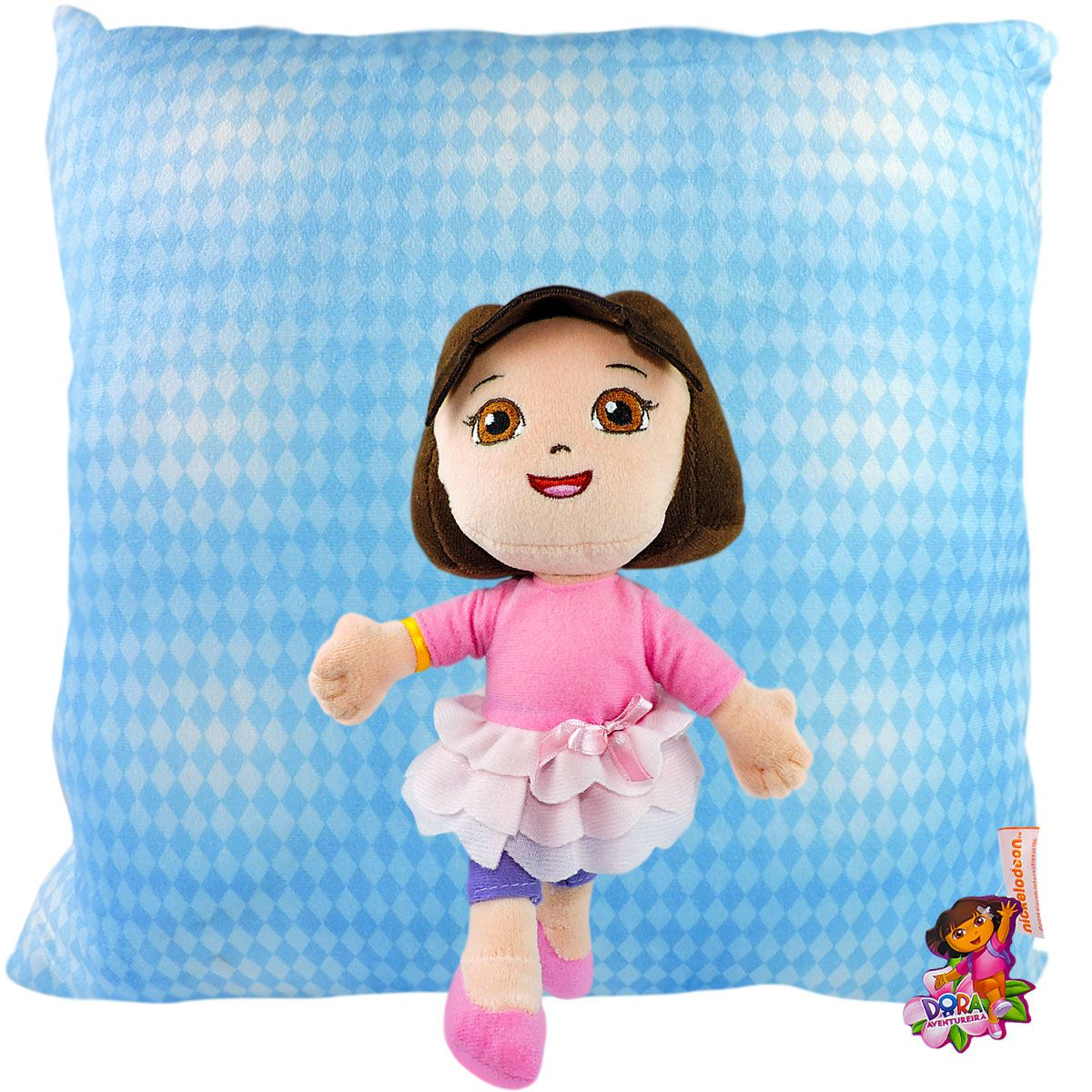 Boneca De Pelúcia E Almofada Infantil Dora Bailarina