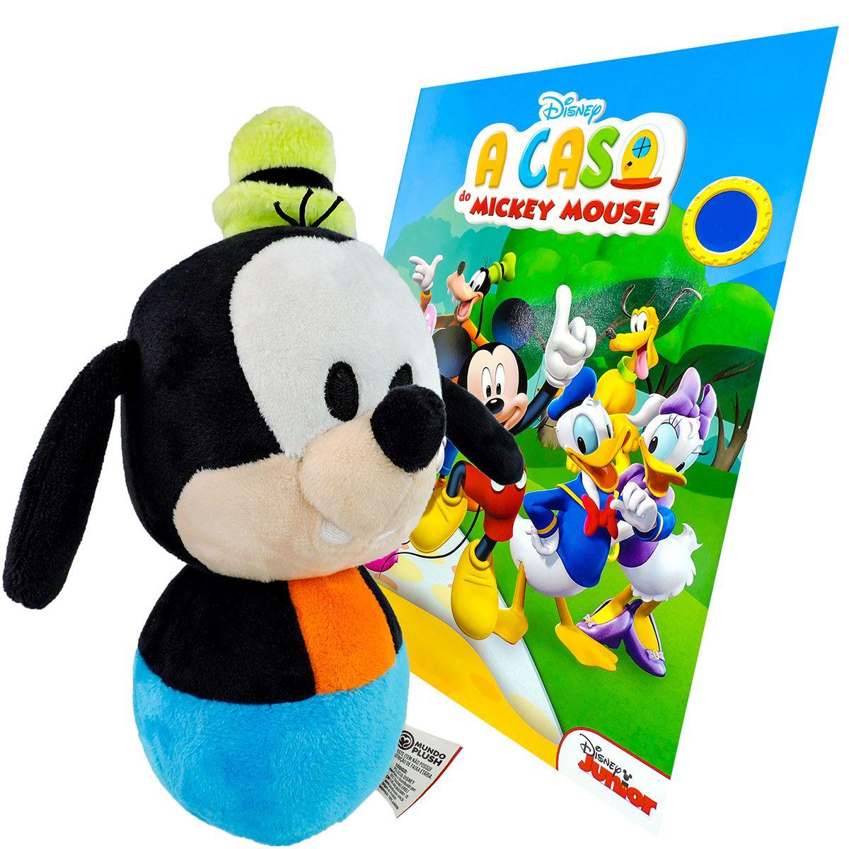 Boneco De Pelúcia Pateta e Revista para Colorir Disney