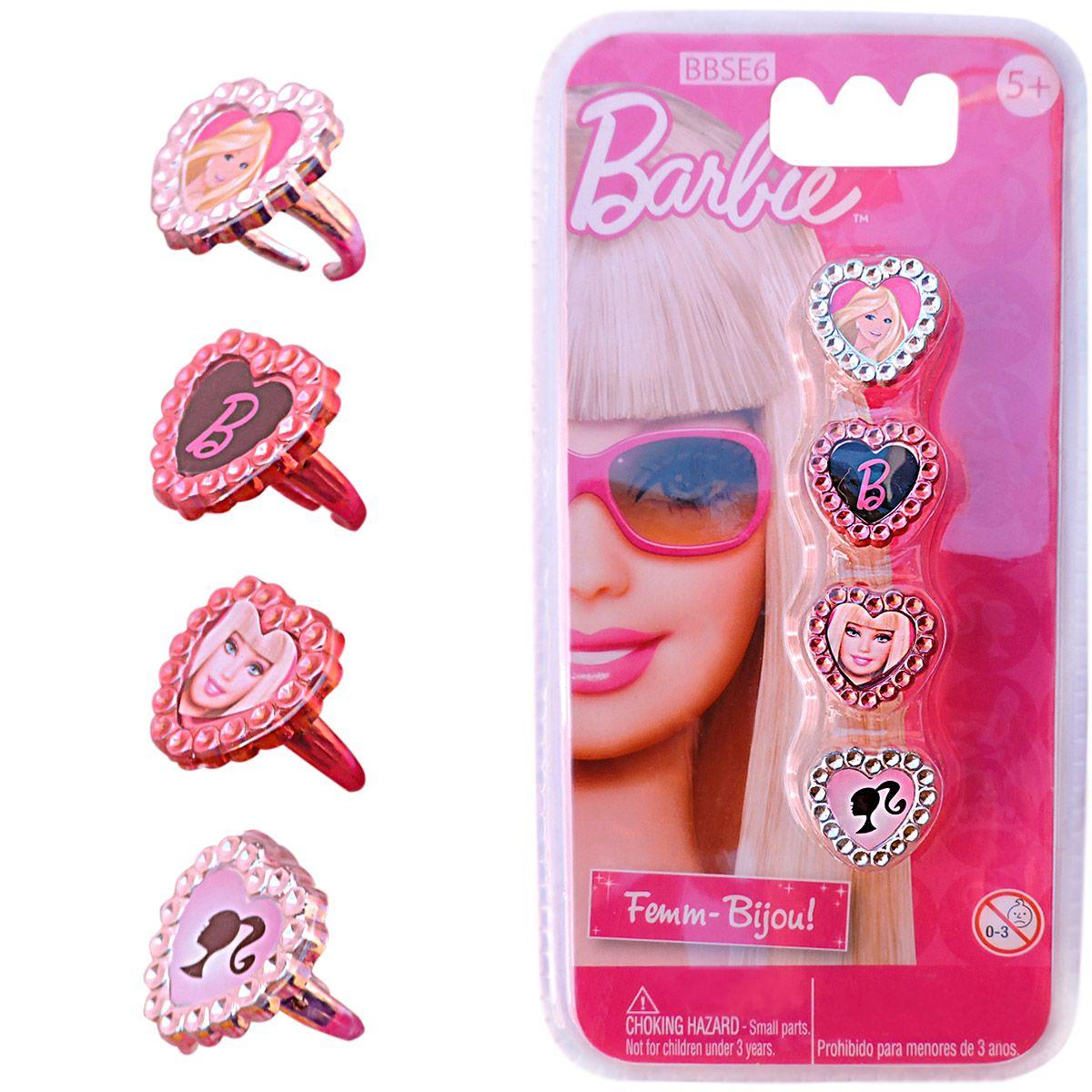 Brinquedos Barbie Kit Acessórios 4 Anéis de Princesa