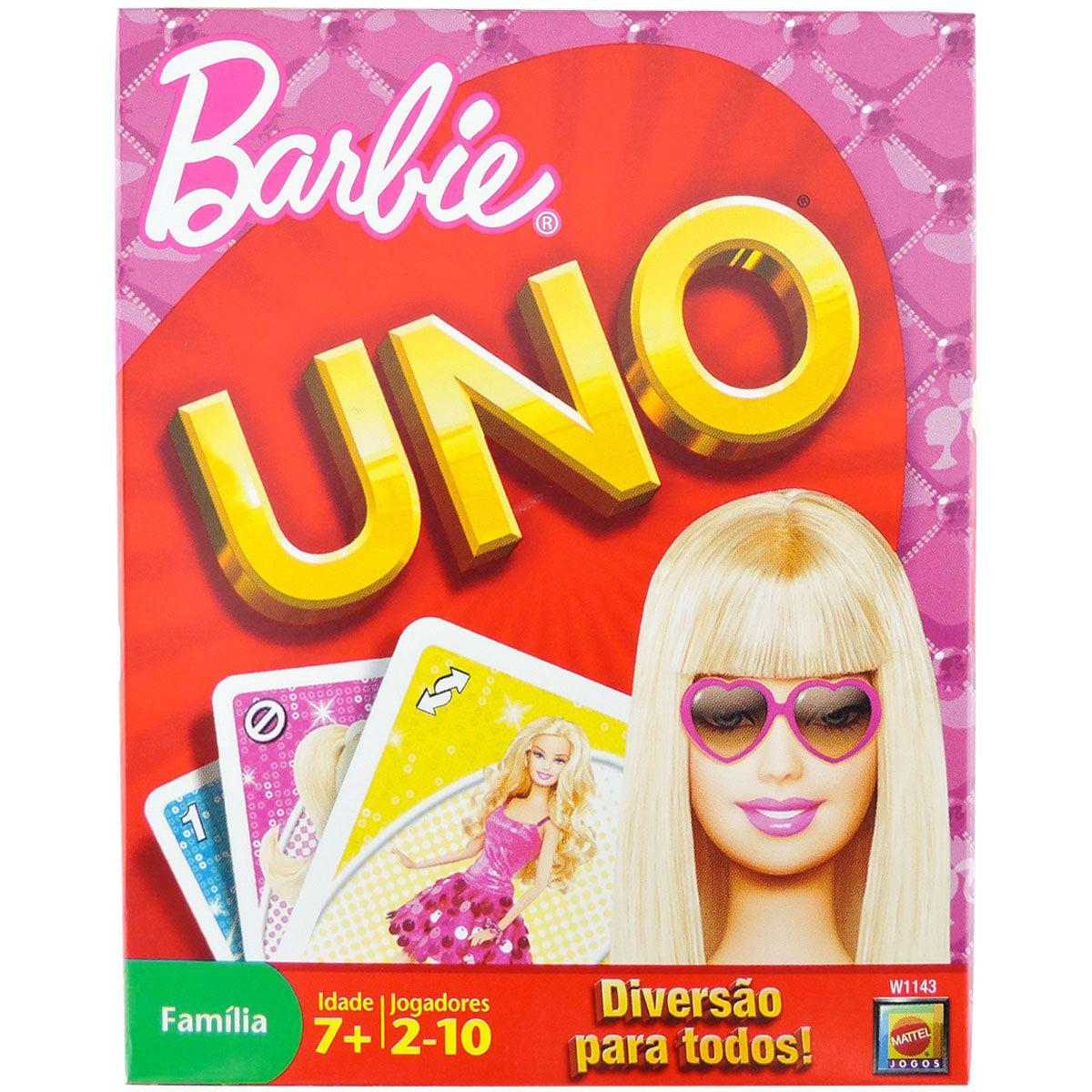 Coleção com 2 Jogos Uno Barbie e Polly Mattel