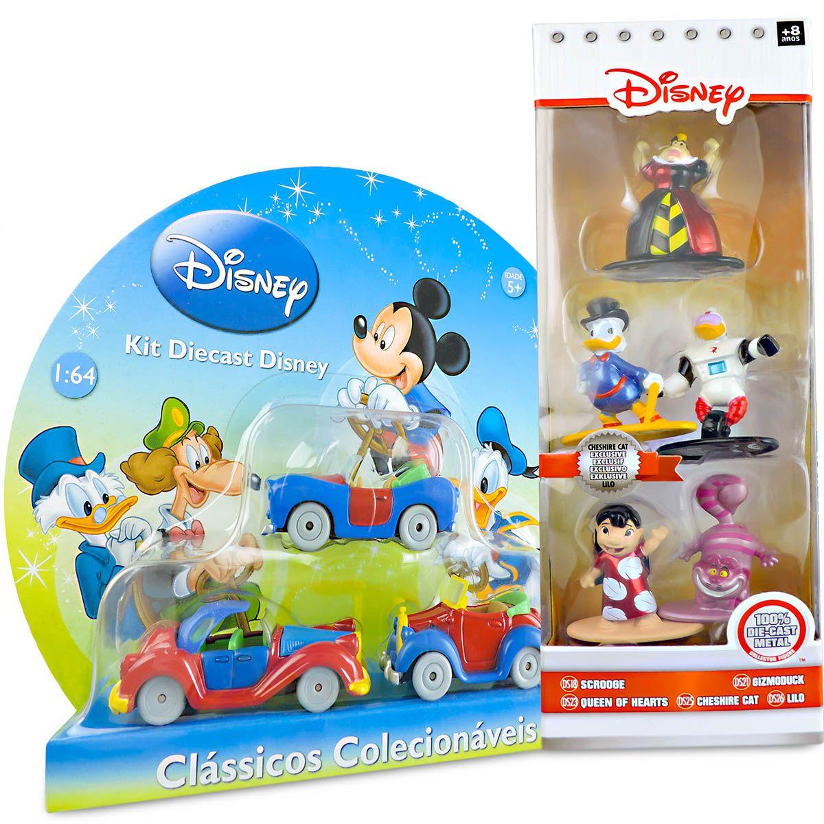 Coleção Metal 8 Unidades Bonecos E Carrinhos Diecast Disney