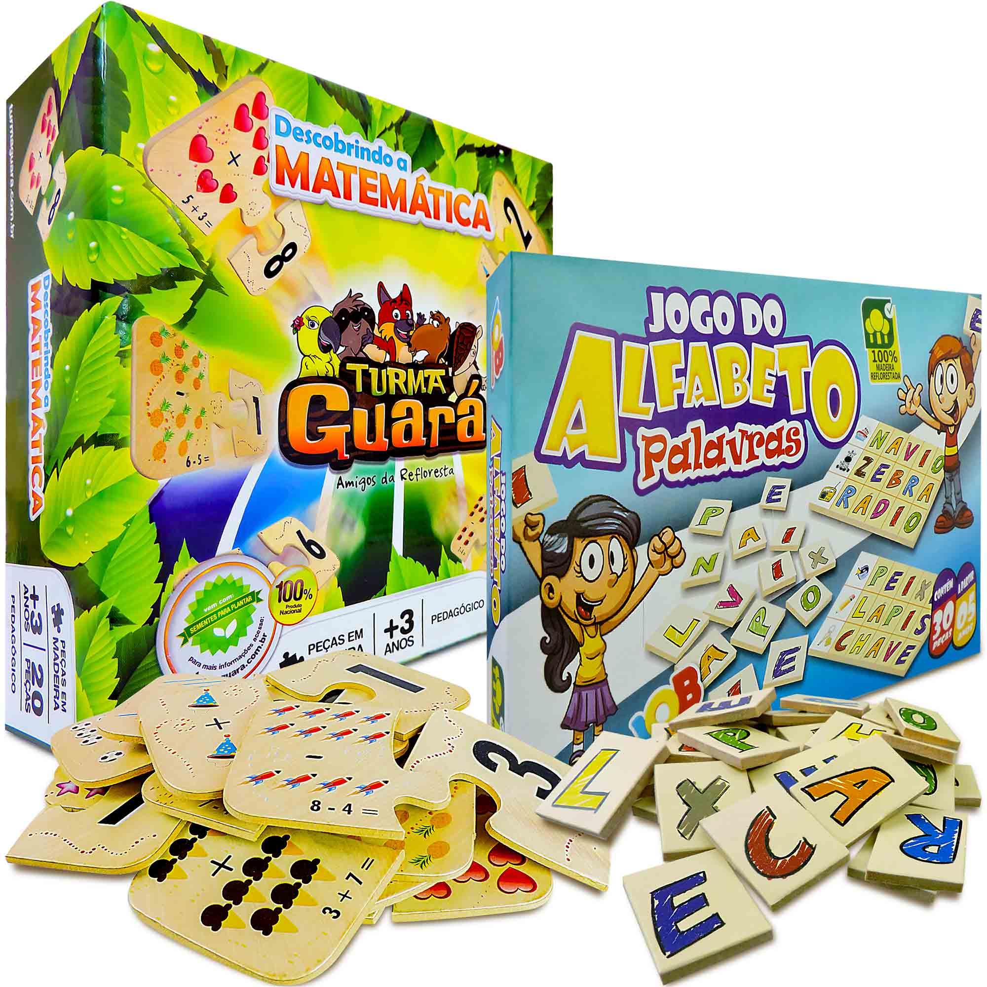 Jogo Alfabeto E Descobrindo A Matemática Madeira Educativo