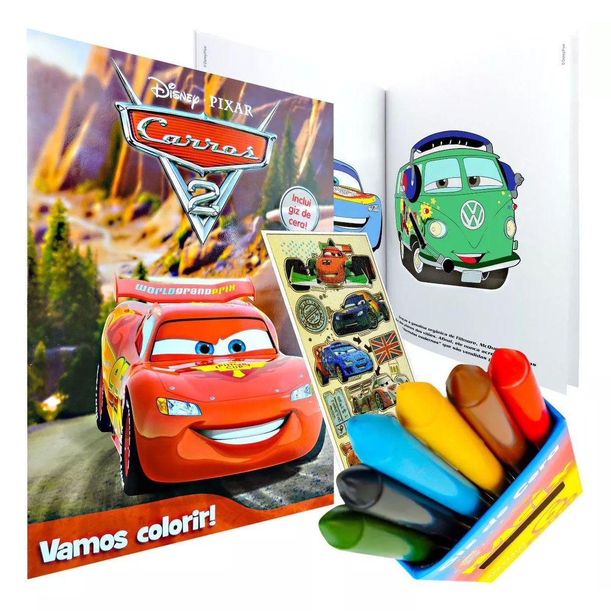 Livro Para Colorir Carros Com 6 Giz De Cera Mais Adesivo Omega Toys